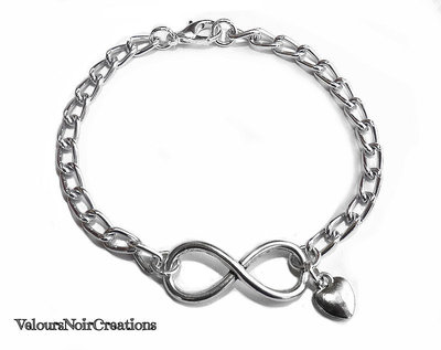 Bracciale simbolo infinito uomo donna argento tibetano catena argentata cuore