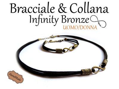Bracciale & Collana simbolo Infinity Infinito bronzo UNISEX braccialetto pelle uomo donna