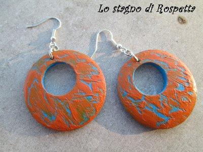 Orecchini legno arancio/azzurro