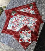 coppia tovagliette americane ciliegie + porta tovaglioli di carta coordinato