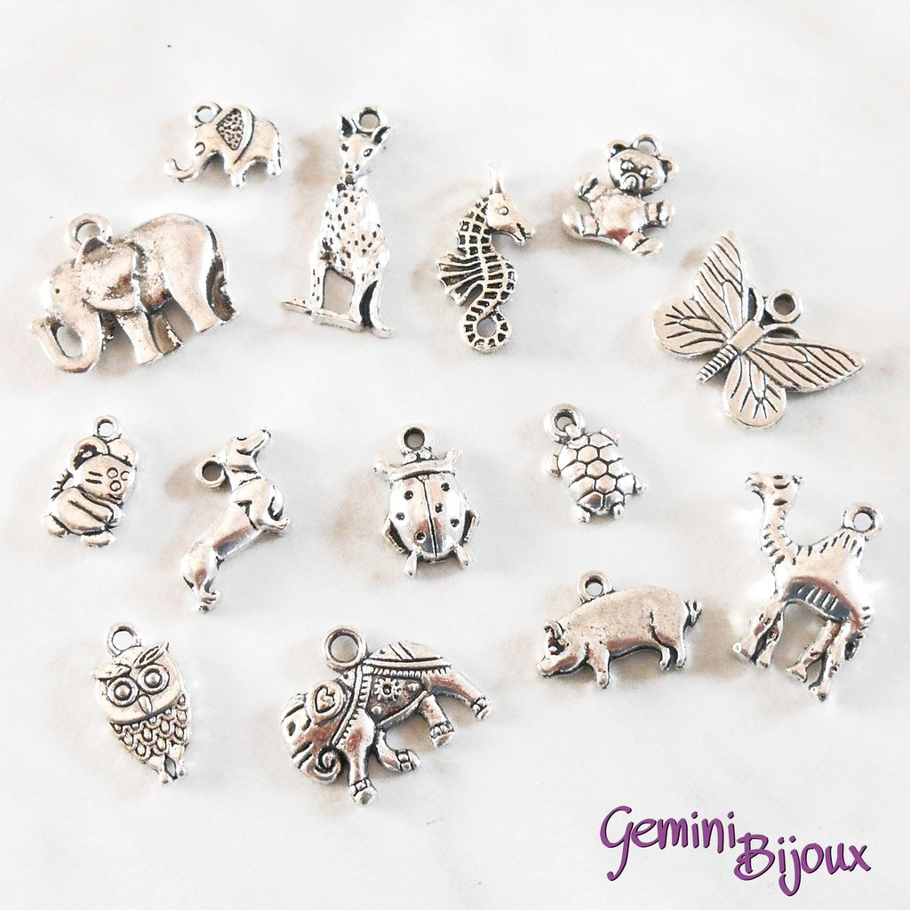 Lotto 10 charms animali mix