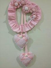Fiocco nascita rosa con gessetti angelo