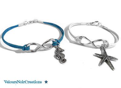 coppia bracciali simbolo infinito ,uomo cavalluccio marino ,donna stella marina