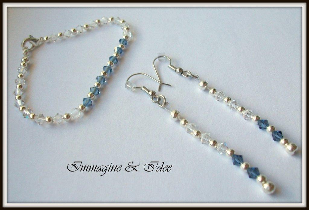 Parure bracciale ed orecchini con bicono Swarovski Crystal e Denim Blue
