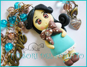 "Collana ""Fufudoll Turchese: Martina"" bambolina fimo cernit doll dollina idea regalo natale doll fimo"