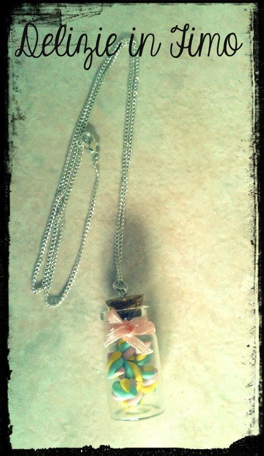 Collana Bottiglietta in Vetro Marshmellow in fimo Handmade