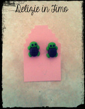 Coppia Orecchini a Lobo Tartaruga in Fimo  Pair Earrings Turtle polymer clay