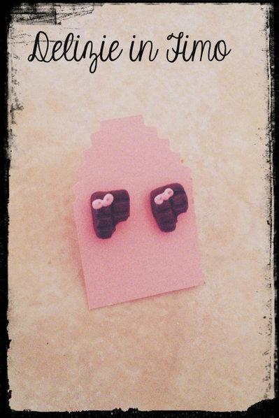 Coppia Orecchini Cioccolatina in Fimo   Pair Earrings Chocolate polymer clay