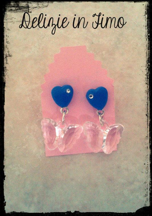 coppia orecchini con cuore e farfalla in fimo  Pair Earrings Heart and Butterfly