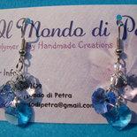 Orecchini Cuoricini Taglio Swarovsky Azzurro e Blu