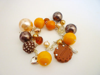 Orange cookie with strass - bracelet