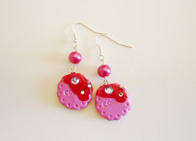 Pink cookies with strass and topping - earrings