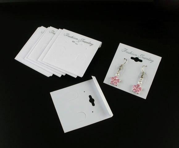 cartoncino in plastica bianco per orecchini 5.3x5 cm