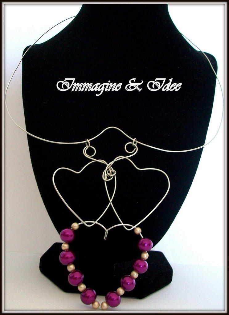 """collana  """"cuori in tempesta"""" di acciaio e perle viola e beige"""