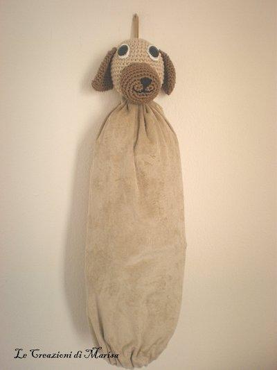 portasacchetti con cagnolino uncinetto