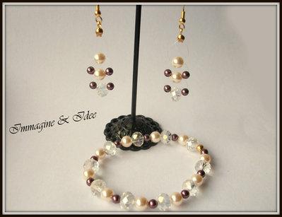"""Parure bracciale ed orecchini """"Double"""" con perle color crema e borgogna Swarovski"""