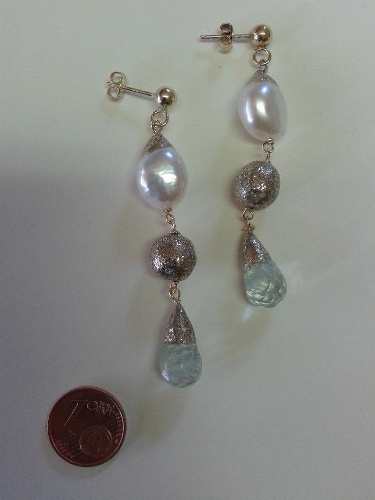 orecchini argento con perle