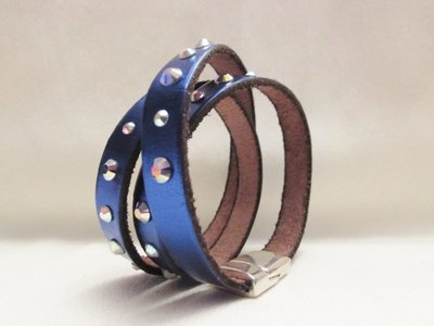"""Metallic Blue"" - Braccialetto con strass Swarovski"