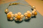 bracciale con fiori e perle