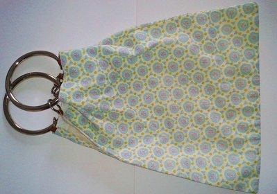 borsetta stampata cotone doppio anelli metallo