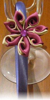 Cerchietto in raso color glicine con fiore kanzashi a doppi petali