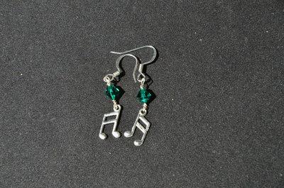 Orecchini note musicali - Verde smeraldo