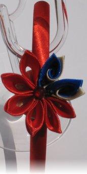 Cerchietto in raso con fiore kanzashi rosso