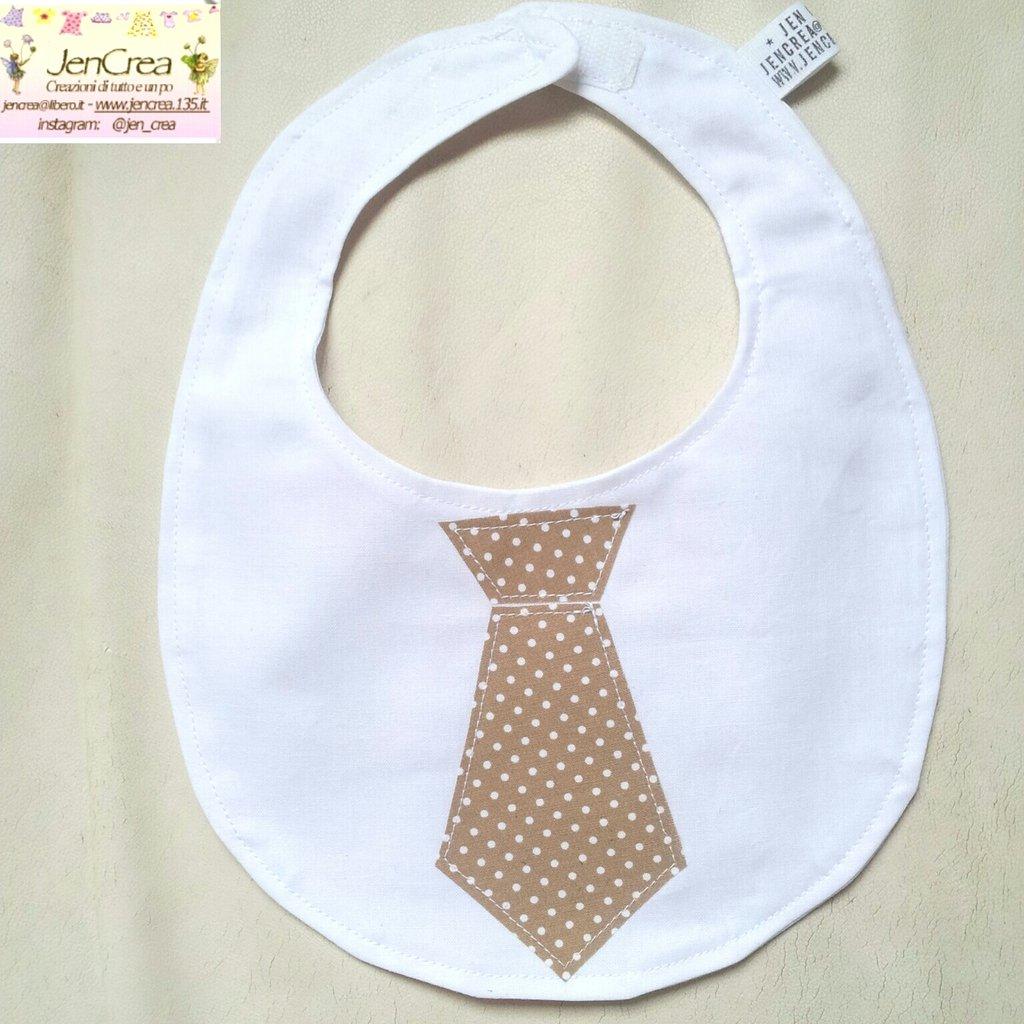 1 Bavaglino elegante bambino cravatta beige pois bianchi