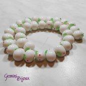 OFFERTA LAMPWORK: fila 33 perle ovali coniglio bianco mm.15