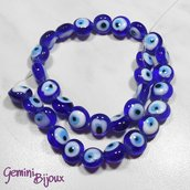 OFFERTA LAMPWORK: fila 30 perle tonde occhi blu diam. 12mm