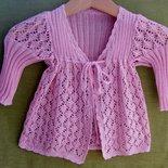 cardigan bimba cotone lana maglia traforata