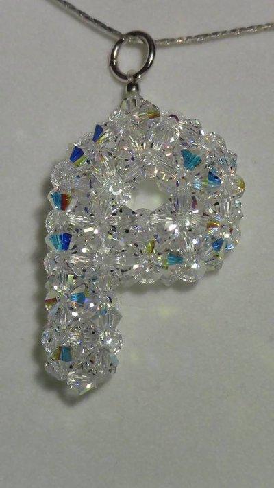 lettera P in cristallo swarovski