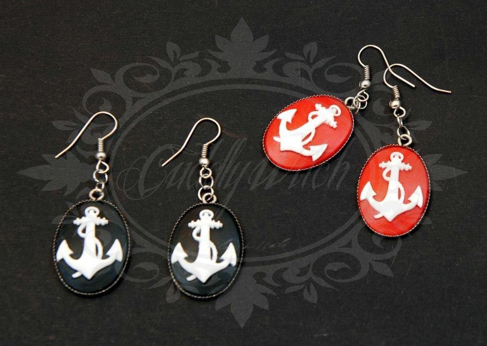 orecchini pendenti cammeo ancora, 25x18 mm, rosso/bianco - nautico pin up rockabilly fifties sailor