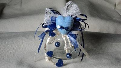 bomboniera segnaposto artigianale vasettto vetro saponetta profumata cuore blu/panna