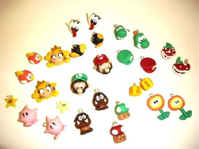 OFFERTA STOCK LOTTO 6 CIONDOLO - fimo - MARIO BROS e Personaggi gioco - charms per orecchini, bracciali, collane