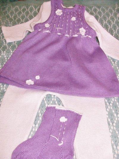 completino bimba maglia pantaloni scamiciato calzini cotone lana maglia