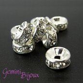 Lotto 10 rondelle strass 8mm
