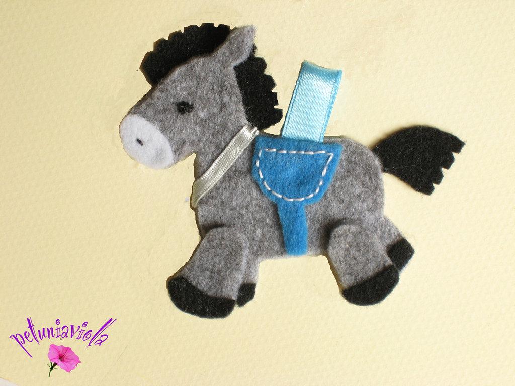 Cavallino grigio bomboniera di feltro