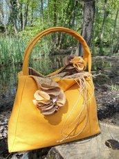 Borsa picnic lovin' in cotone con applicazioni in puro lino