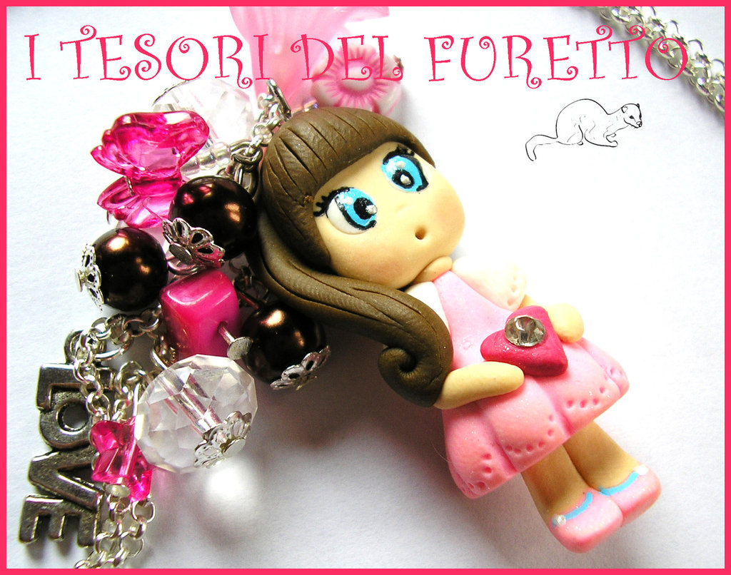 "Collana ""Fufudoll Mod. Melissa"" bambolina doll cernit kawaii rosa"