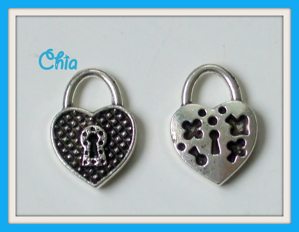 3 charms cuore lucchetto 23x16mm