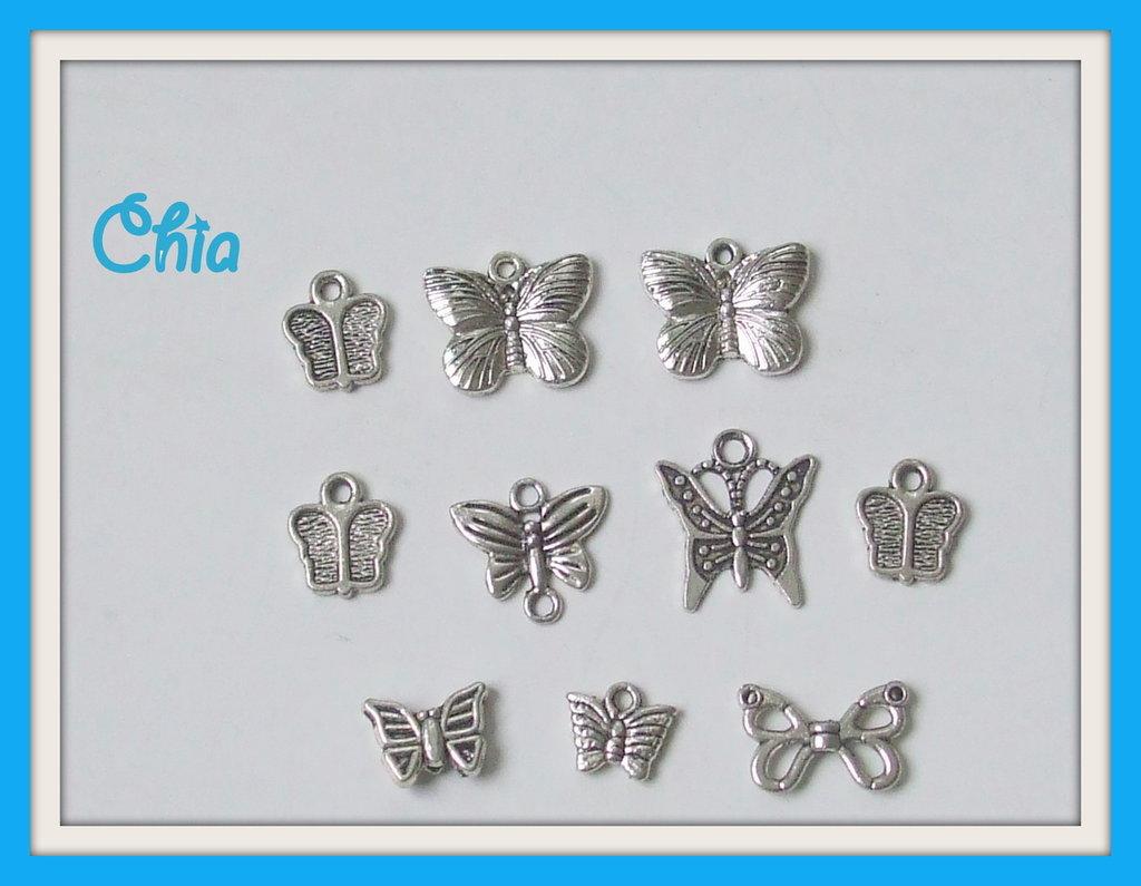 lotto 10 charms farfalle varie forme e misure