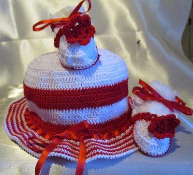 COMPLETINO NEONATA - Stile Marinaro - Cappellino e scarpette fatti a mano