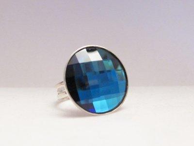 """""""Bottone Bermuda Blue"""" - Anello in cristallo Swarovski ed argento 925"""