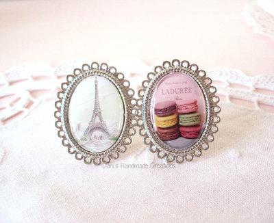 Anello cammeo a tema Parigi, con tour eiffel o macarons