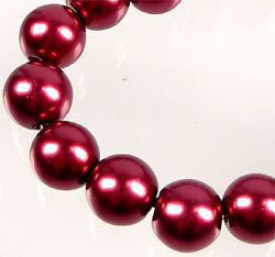 Lotto 20 perle in verto cerato 8mm ROSSO BORDEAUX