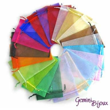 Lotto 10 sacchetti organza colori assortiti