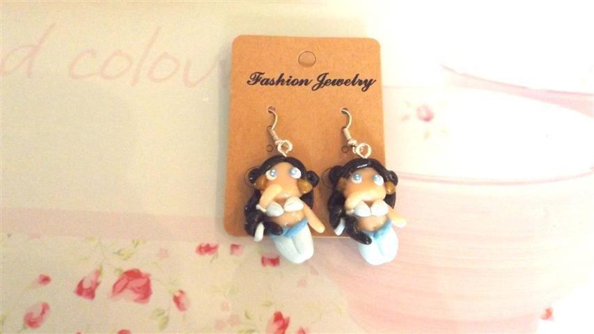 Paio di orecchini     -dalla serie una favola da indossare JASMINE   - FIMO  charms per orecchini, braccialetti, collane, portachiavi