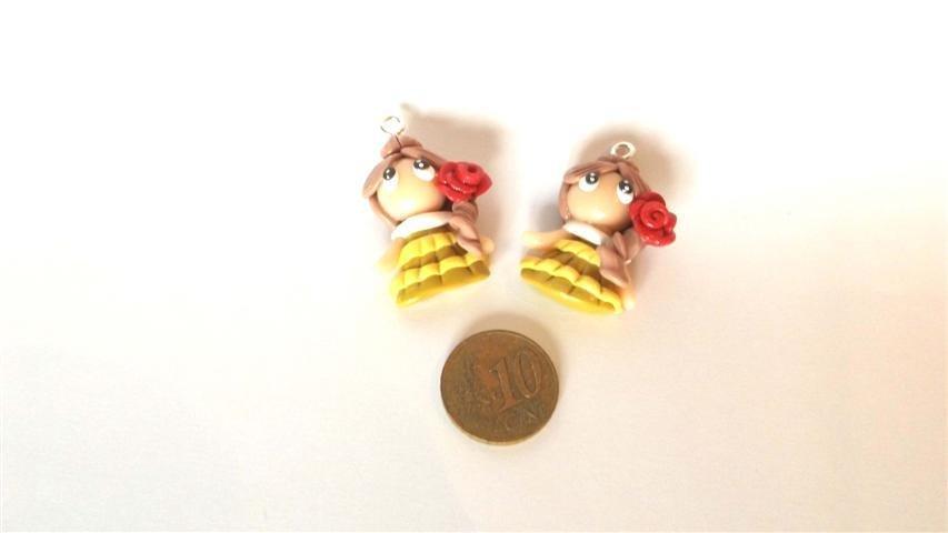 UN CIONDOLO A SCELTA      -dalla serie una favola da indossare BELLE    - FIMO  charms per orecchini, braccialetti, collane, portachiavi