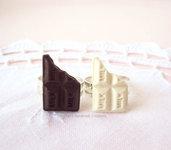 Anello barretta di cioccolato bianco o al latte - in fimo